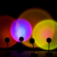 Sunset Projector Lamp Rainbow Atmosphere Led Night Light for Home Bedroom Coffe shop Background Wall Decoration USB Table Lamp