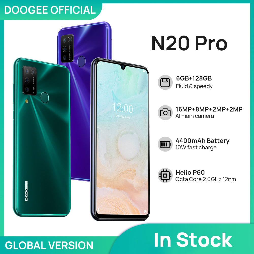 """DOOGEE N20 Pro Quad Camera Mobile Phones Helio P60 Octa Core 6GB RAM 128GB ROM Global Version 6.3"""" FHD+ Android 10 OS Smartphone 1"""