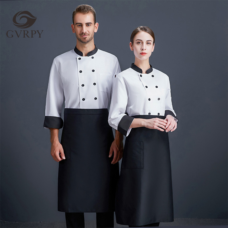 Double-breasted Black Collar Long Sleeve Chef Uniform Unisex White Overalls Cafe Hotel Bakery Hairdressers Salon Waiter Shirt