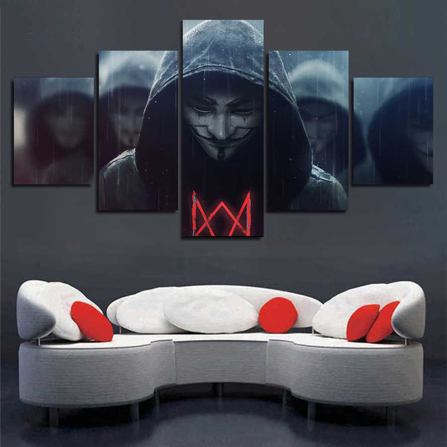 Alan Walker Poster DJ Music Painting Modular Picture Framed Wall Art 5 Piece Canvas Print Painting for Teenager Room Wall Decor
