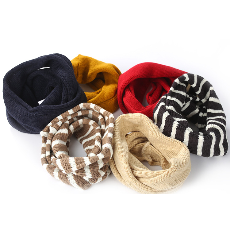Korean Autumn Winter Rings Scarf Children's Small Scarf Striped Knit Solid Color Small Bib Thick Warm Boys And Girls Winter Wild