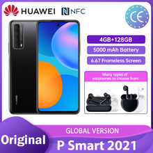 Huawei P Smart 2021 Global 4 + 128GB NFC 48 MP Quad Camera 5000 mAh bateria 6.67 bezramowa ekran telefony komórkowe Смартфоны телефон