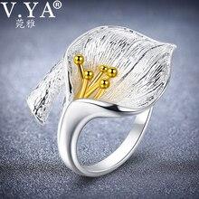 V.YA 여자를위한 조정 가능한 꽃 백합 꽃 반지 여성 925 순은 반지 보석 부속품 고품질