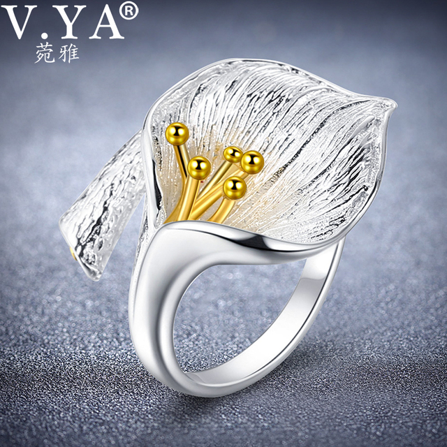 V.YA Adjustable Flower Lily Floral Rings For Women Female 925 Sterling Silver Ring Jewelry Accessories High Quality