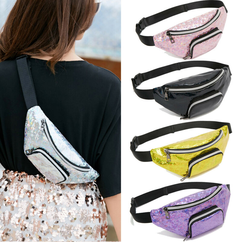 Women Girls Waist Fanny Pack Belt Bag Pouch Hip Bum Bag Travel Sport Small Purse Fashion Cool Crossbody Sport Casual Waist Bag