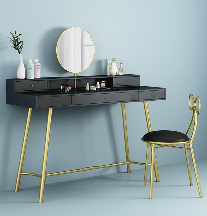 European style multi-functional iron solid wood dressing table small bedroom art make-up table
