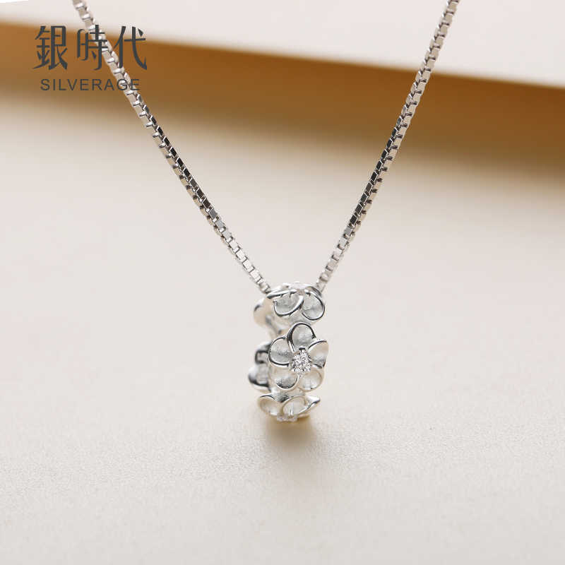 SA SILVERAGE Lady Flower Necklace Original S925 Design Silver Female Necklace Sterling Silver Clavicle Jewelry Kids Jewelry