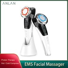 Anlan ems massageador facial micro atual beleza rosto massageador vibração sônica rugas removedor quente fresco rosto dispositivo de levantamento