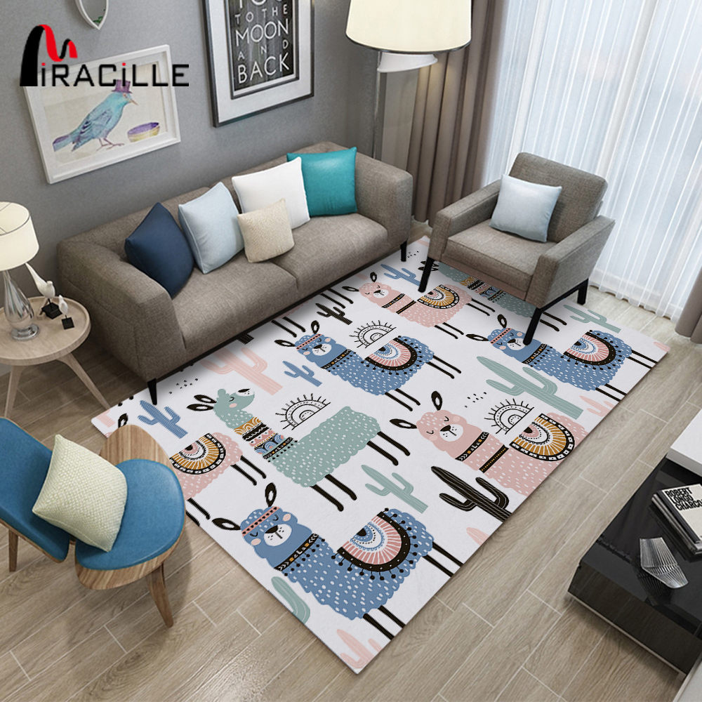 Miracille Alpaca Sheep Cartoon Printed Rectangle Carpets For Kids Room Play Floor Mat Home Non-slip Area Rug