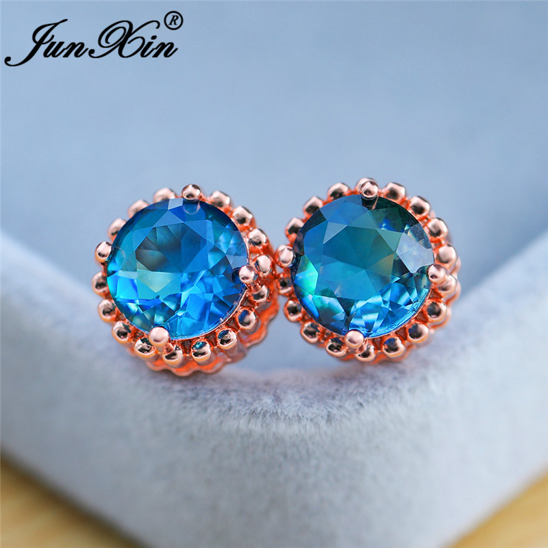 Boho Round Rainbow Fire Crystal Earrings For Women White Rose Gold Colorful Zircon Green Blue Stone Ear Stud Earring Wedding CZ
