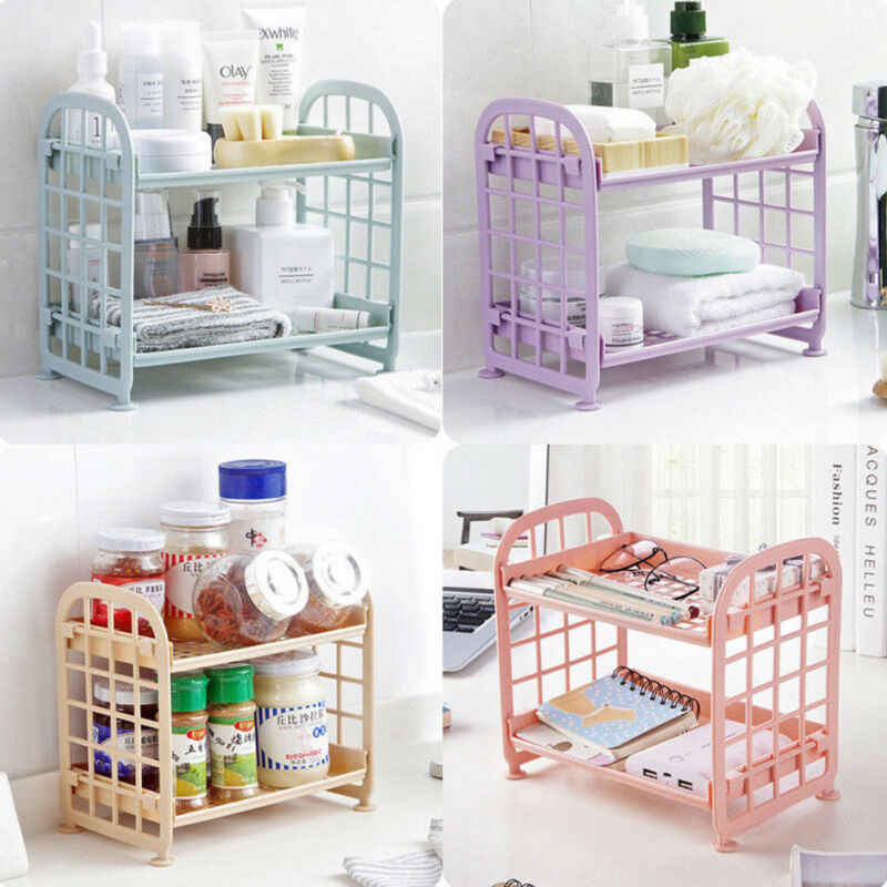 Plastic Storage Rack Bathroom Accessories 2 Tier Shelf Holder Freestanding Durable Kitchen Home Organization Storage Racks