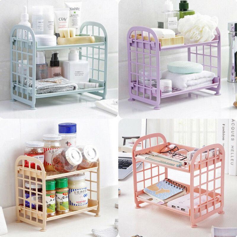 Plastic Storage Rack Bathroom Accessories 2 Tier Shelf Holder Freestanding Durable Kitchen Home Organization Storage Racks
