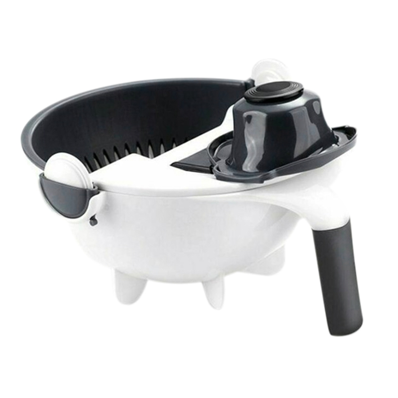 EAS-Magic Rotate The Vegetable Cutter With Drain Basket Multi-Functional Kitchen Veggie Fruit Shredder Grater Slicer