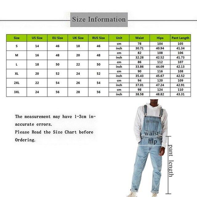 MONERFFI For Man Suspender Pants Men's Jeans Jumpsuits High Street Distressed 2020 Autumn Fashion Denim Male Plus Size S-3XL 6