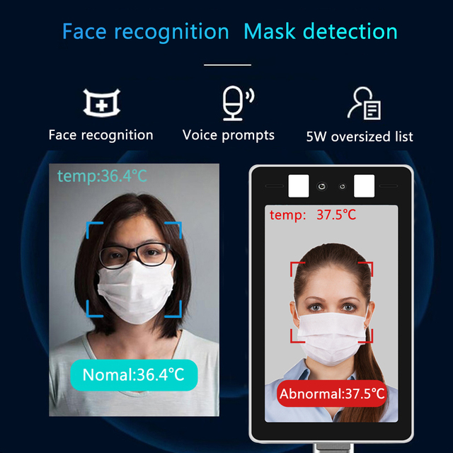 Face Recognition Temperature Measurement System No-Contact Infrared Thermometer Fit For Entrance Exit  of Office Thermometer