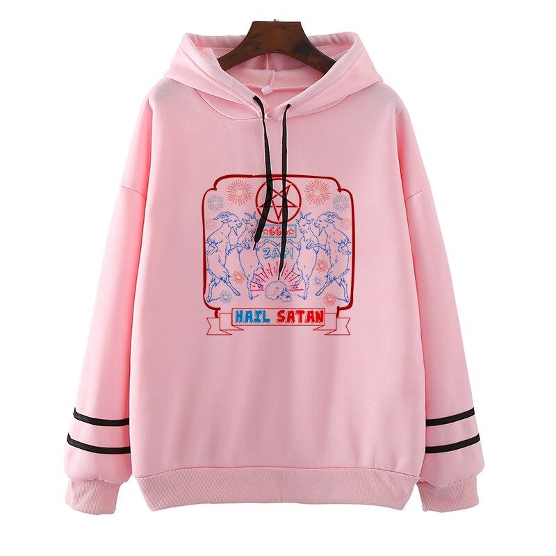 Women Hoodies Harajuku Baphomet Satan Print Pocket Warm Woman Grim Reaper  Loose Solid Female Sweatshirts