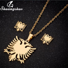 Shuangshuo Gold Stainless Steel Albanian Eagle Necklace Earrings Jewelry Sets for Women Men Aniaml Bird Pendant Choker Necklaces(China)