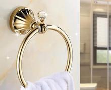 Полотенце держатель золотой кристалл нержавеющая сталь ванна полотенце кольца настенный навесной полированный ванная полотенце держатели ванна оборудование