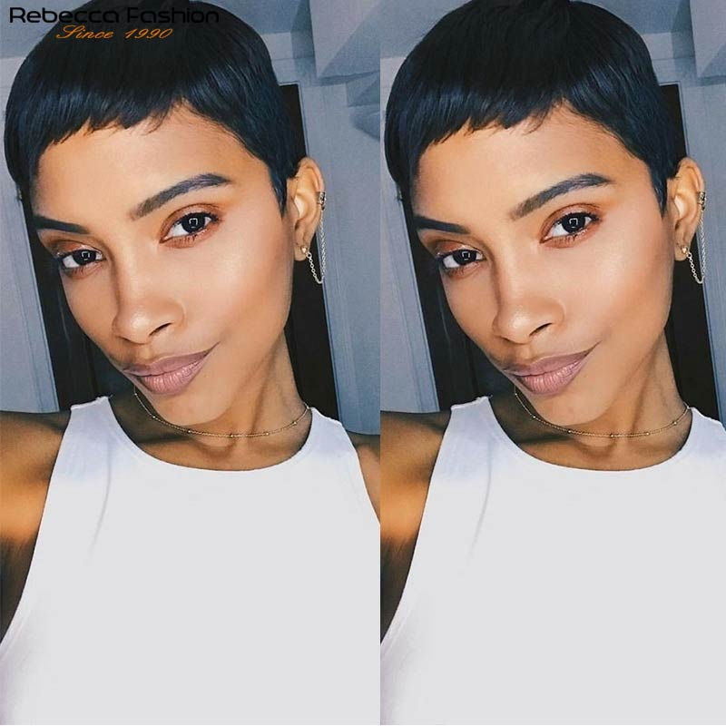 Rebecca Short Cute Hair Pixie Cut Wigs Short Straight Hair Peruvian Remy Human Hair Wigs For Women Fashion Full Wig Black Purple