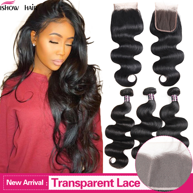 Ishow Body Wave Bundles With Closure Transparent Lace Closure With Bundles Malaysian Non-Remy Human Hair Bundles With Closure