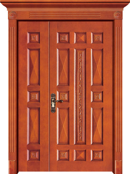 Luxury Carving Designs Thailand Oak Interior Single Solid Wood Door Entry Doors C004
