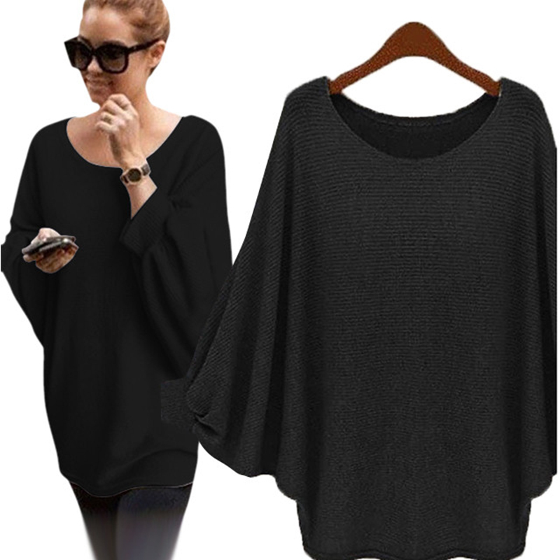 Women Oversized Sweater 5 Colors Lady Bat Sleeve Batwing Knitted Pullover O Neck Loose Sweaters Top Knitted Pullovers Jumpers