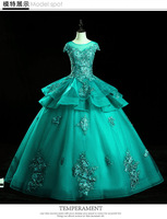 In stock size US2 US14 Malachite green floor length Ball gown Quinceanera Dresses Navy Blue Formal Prom Dance Birthyday