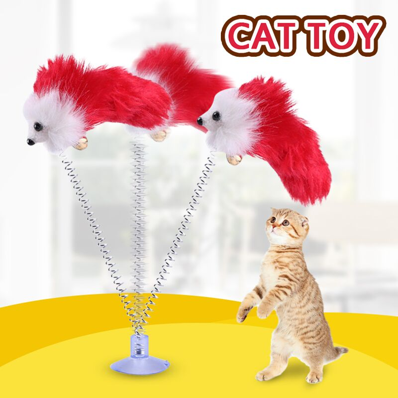 New Soft Feather Mouse Imitation Spring Cat Play Interaction Toy Cat Training Supplies With Suction Cup