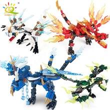 HUIQIBAO ensemble de blocs de construction Dragon Ninja, ensemble de briques, Action KAI JAY ZANE Cole, jouets éducatifs de ville, pour enfants, ami, 1 ensemble