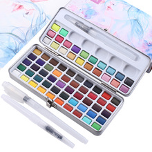 72 Colors Solid Watercolor Pigment Set Box with 3Pcs Water Brush Pen Portable Water Color Pigment for Drawing Art Supplies