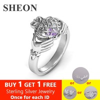 SHEON 925 Sterling Silver Ring Engraved Hands Holding Heart Birthstone Finger Ring Sterling Silver Jewelry For Lover Gift