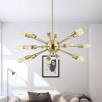 Rose gold Wrought iron chandelir Kitchen Restaurant statellite light loft industrial Retro Chandelier lustre suspension lamp