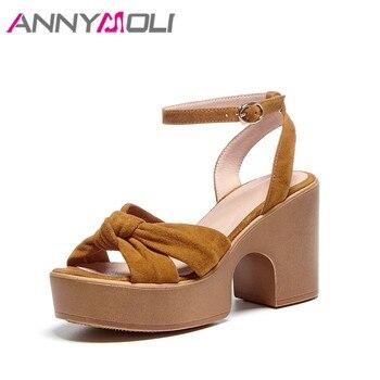 ANNYMOLI Woman Real Leather Sandals Platform Super High Heels Kid Suede Block Heel Shoes Ankle Strap Sandals Ladies Footwear 39
