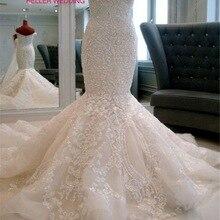 Vestido de novia glamoroso 2019 vestido de novia de sirena con apliques de tren de catedral de amor Abiti Da Sposa