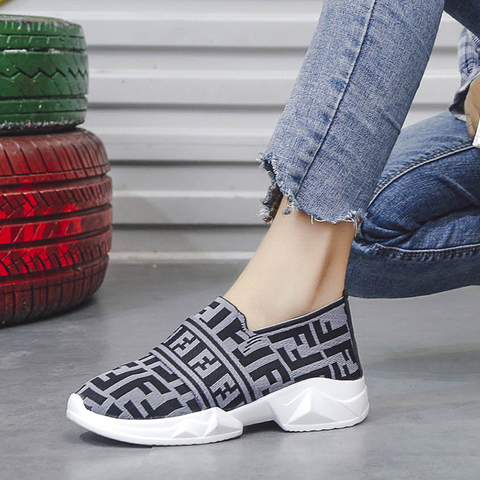 Women Shoes Slip On White Sneakers For Women Vulcanize Shoes Flyknit Basket Femme Super Light Women Casual Shoes Chunky Sneakers Lahore