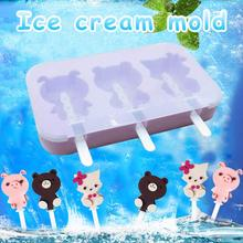 New Silicone Ice Cream Mold Popsicle Molds DIY Homemade Cartoon Pop Maker Mould for Candy Bar Decoration