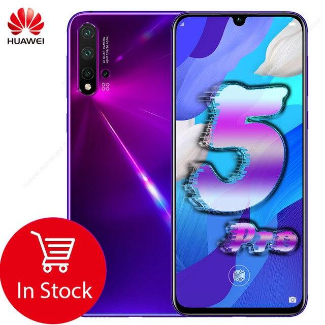 Téléphone portable dorigine HuaWei Nova 5 Pro 8 go 128 go Octa Core 6.39 OLED à lécran empreinte digitale Android 9.0 40W SuperCharge NFC
