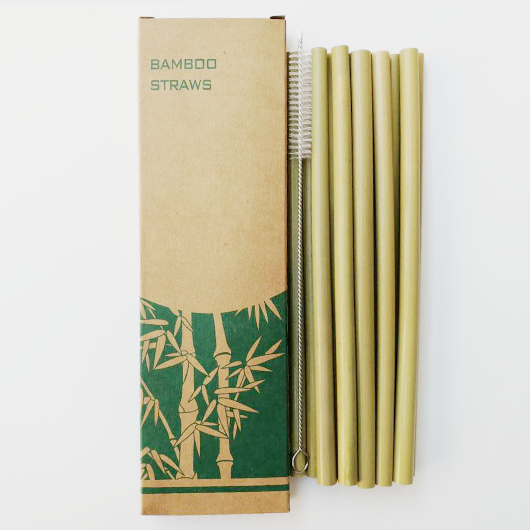 Image 2 - 12pcs Drinking Straws Green Reusable Bamboo Straws with Eco Friendly Bamboo Straw Brush Decoration Gift Party Bar Accessories-in Drinking Straws from Home & Garden