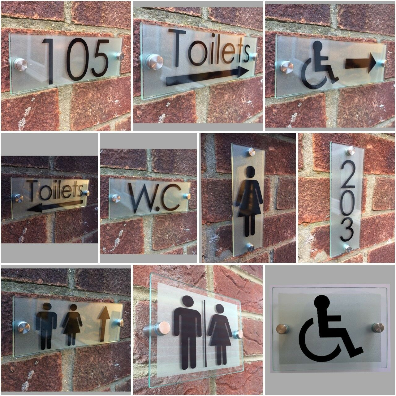 CustomizeBathroom Signs Toilet WC Acrylic Signs - Glass Effect Contemporary Hospitality