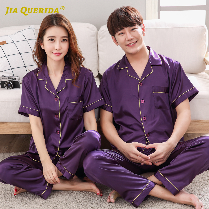 Pj Set New Turn Down Collar Purple Pajamas Set Homesuit Homeclothes Fashion Style Casual Style Short Sleeve Long Pants Sleepwear