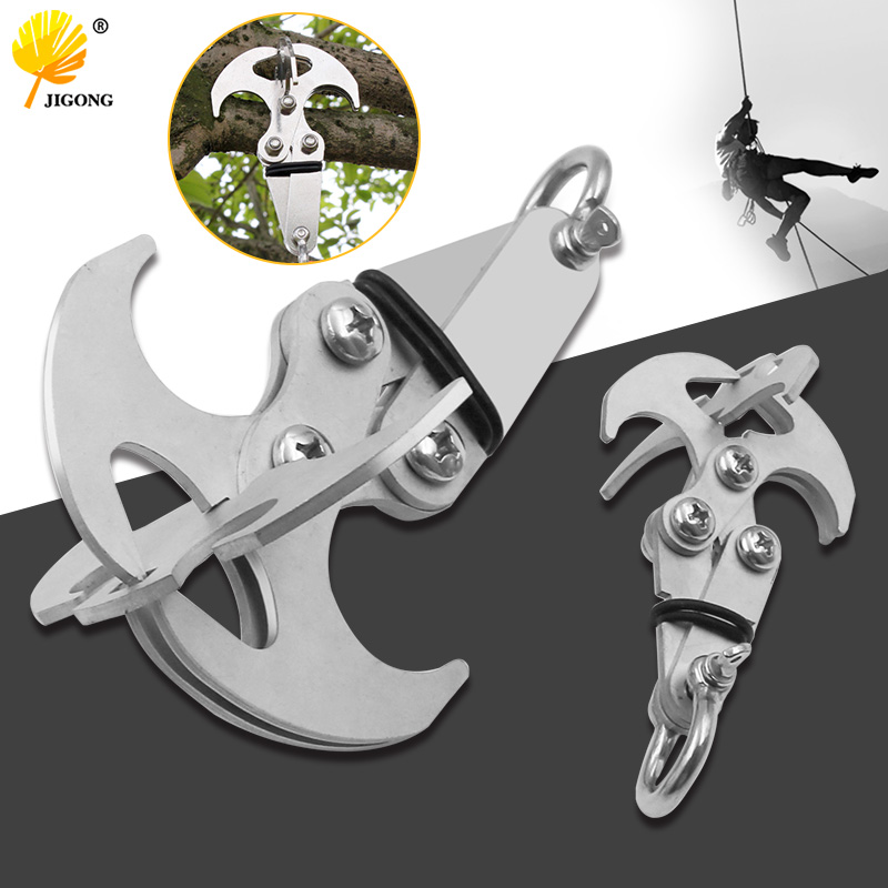Stainless Steel Survival Folding Grappling Hook Multifunctional Outdoor Climbing Claw Carabiner Travel Rescue Tool Climbing Tool