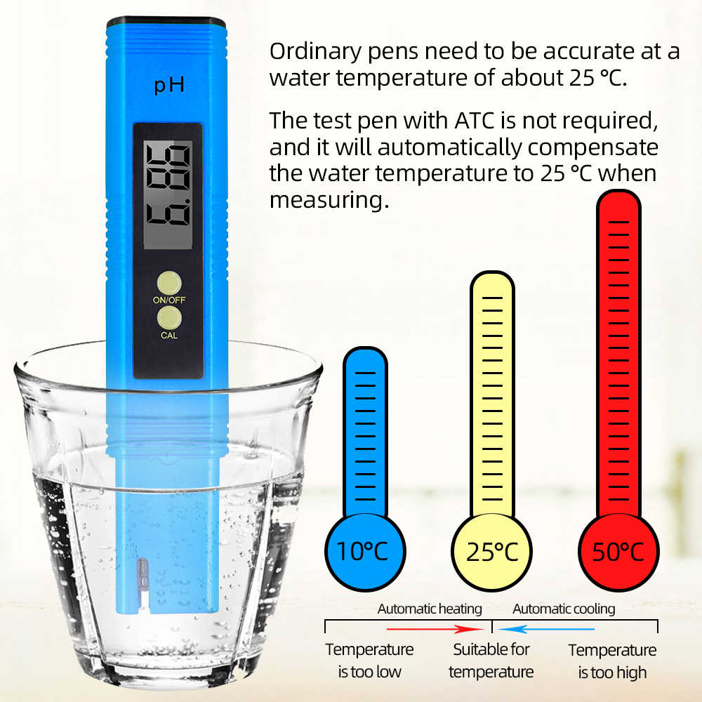 Máy Đo Độ PH ATC 0.01 Bút Thử Nước Rượu Uống Thực Phẩm Chất Lượng Máy Phân Tích Bút Màn Hình Tự Động Hiệu Chuẩn Cho Bể Cá Bể 42%