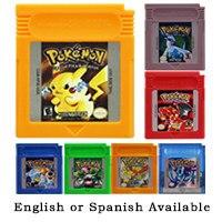 Jogo de vídeo cartucho console cartão 16 bits pokeon azul cristal dourado verde vermelho prata amarelo inglês/espanhol para nintendo gbc