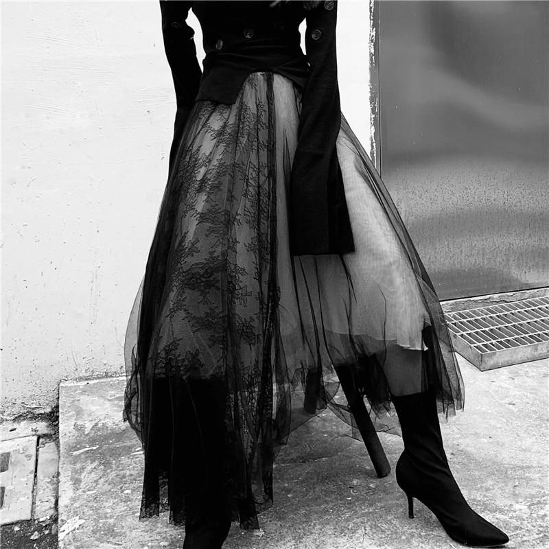 Maxi Long Luxury Soft Tulle Skirt Lace Stitching Gothic White Black Pleated Tutu Skirts Womens Vintage Petticoat Lange Rok Jupes
