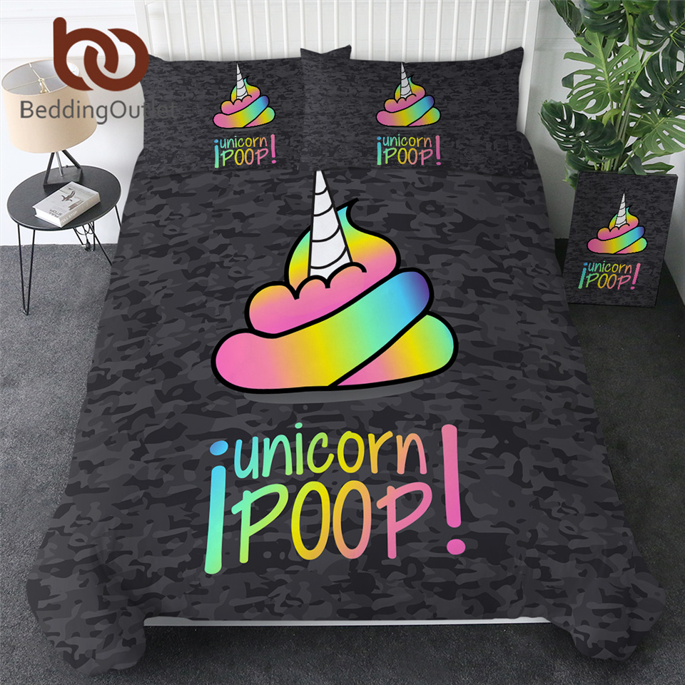 BeddingOutlet Rainbow Poop Bedding Unicorn Emoji Duvet Cover Colorful Funny Smiley Face Bedspreads 3 Pieces Cartoon Kids Bed Set