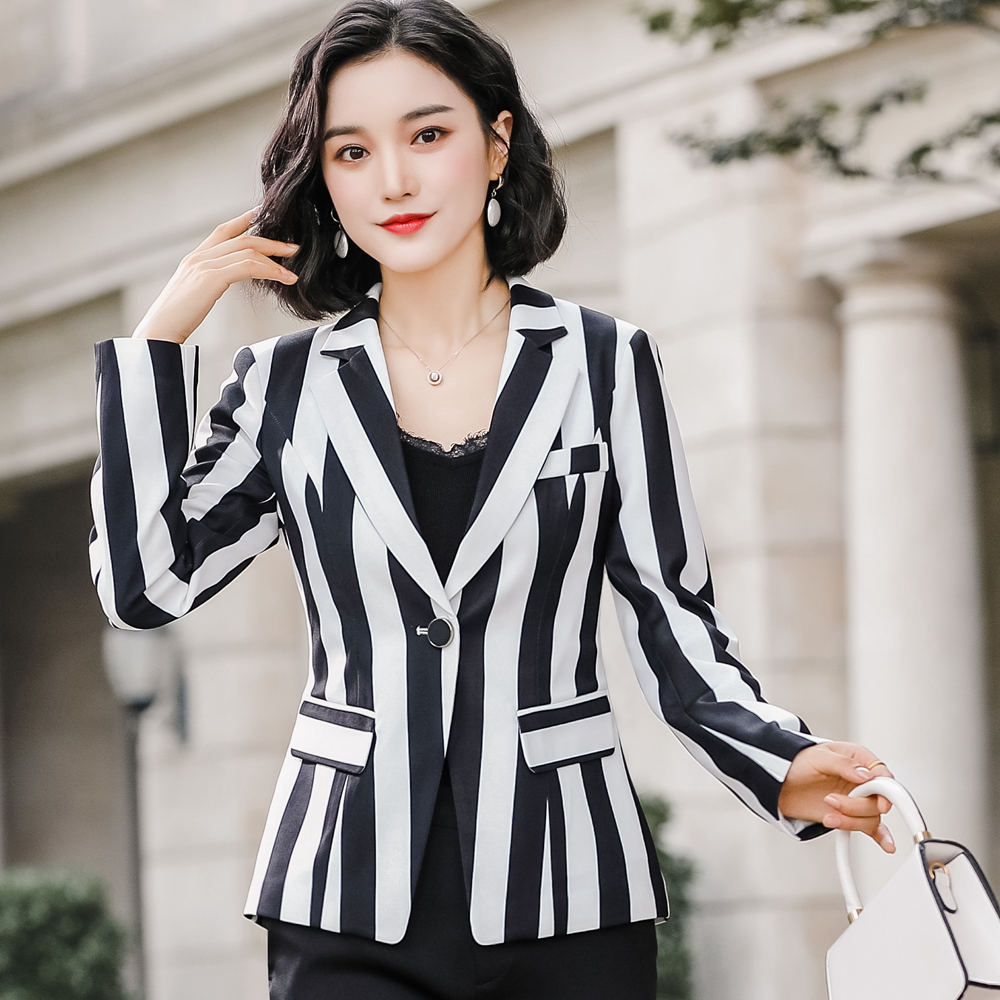 Floral Printing Blazer 4XL Plus Size Jacket Coat 2020 Spring Long Sleeve Women's Office Black Stripe Jacket Outwear 801353 - 5