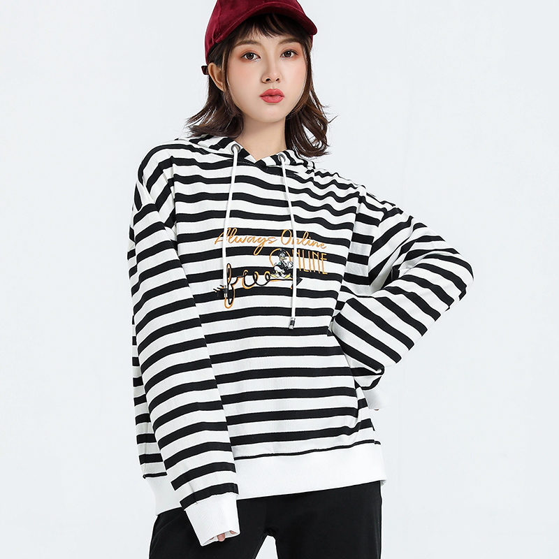 Jvzkass Fashion Embroidery Women's 2019 New Spring And Autumn New Striped Loose Long-sleeved Hooded Tide Brand Z320