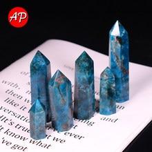 1PC Natural Quartz single point Blue apatite Hexagonal wand Repair Prisms Mineral Home Decoration Treatment Stone DIY Gift