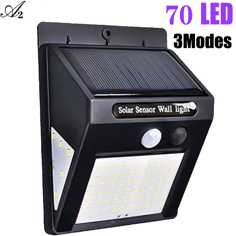 A2 70LED Solar lamp power Light Motion Sensor lighting Three face glowing  for outdoor garden Street Yard Path Home