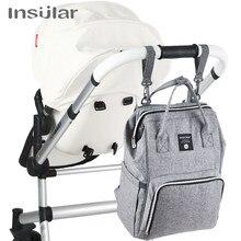 Insular-mochila porta-fraldas de alta capacidade para uso com carrinho, bolsa de carregar nas costas para coisas de bebê e mamãe, multifuncional e á prova d'água, uso em passeios e viagens, bolsa para fraldas